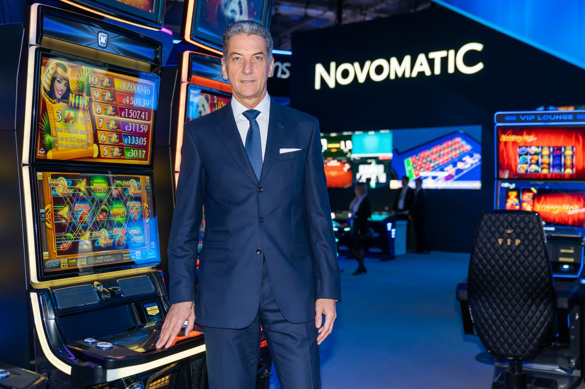 Harald Neumann (CEO NOVOMATIC) at the NOVOMATIC exhibition stand of around 5,000sqm